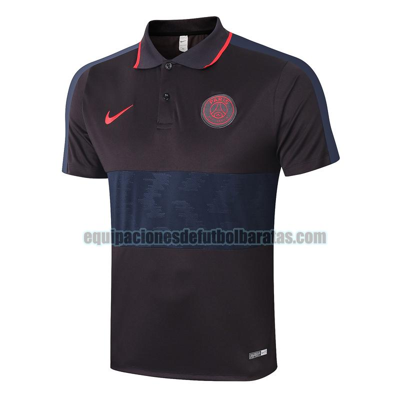 camiseta polo paris saint germain 2020-2021 azul negro