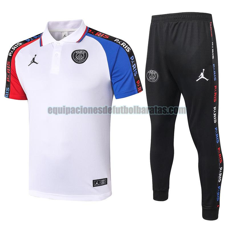 camiseta polo paris saint germain 2020-2021 blanco rojo azul