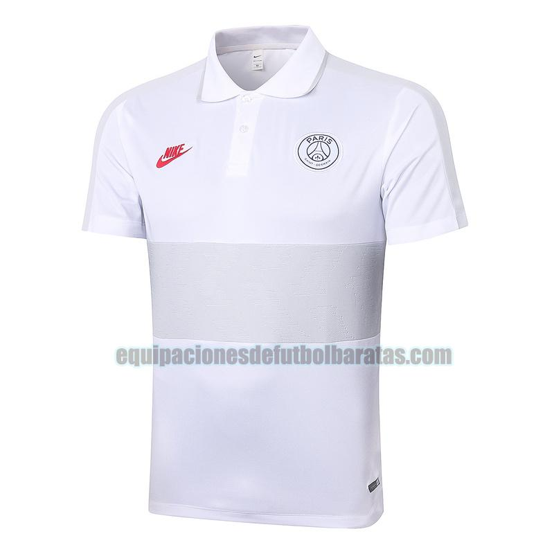 camiseta polo paris saint germain 2020-2021 gris blanco