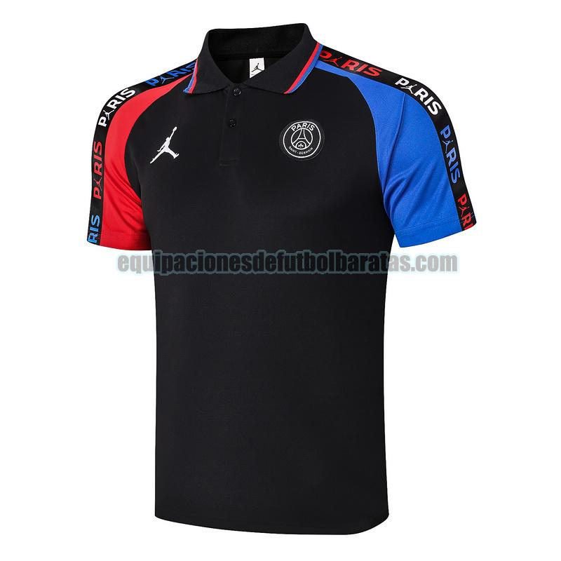 camiseta polo paris saint germain 2020-2021 negro azul rojo