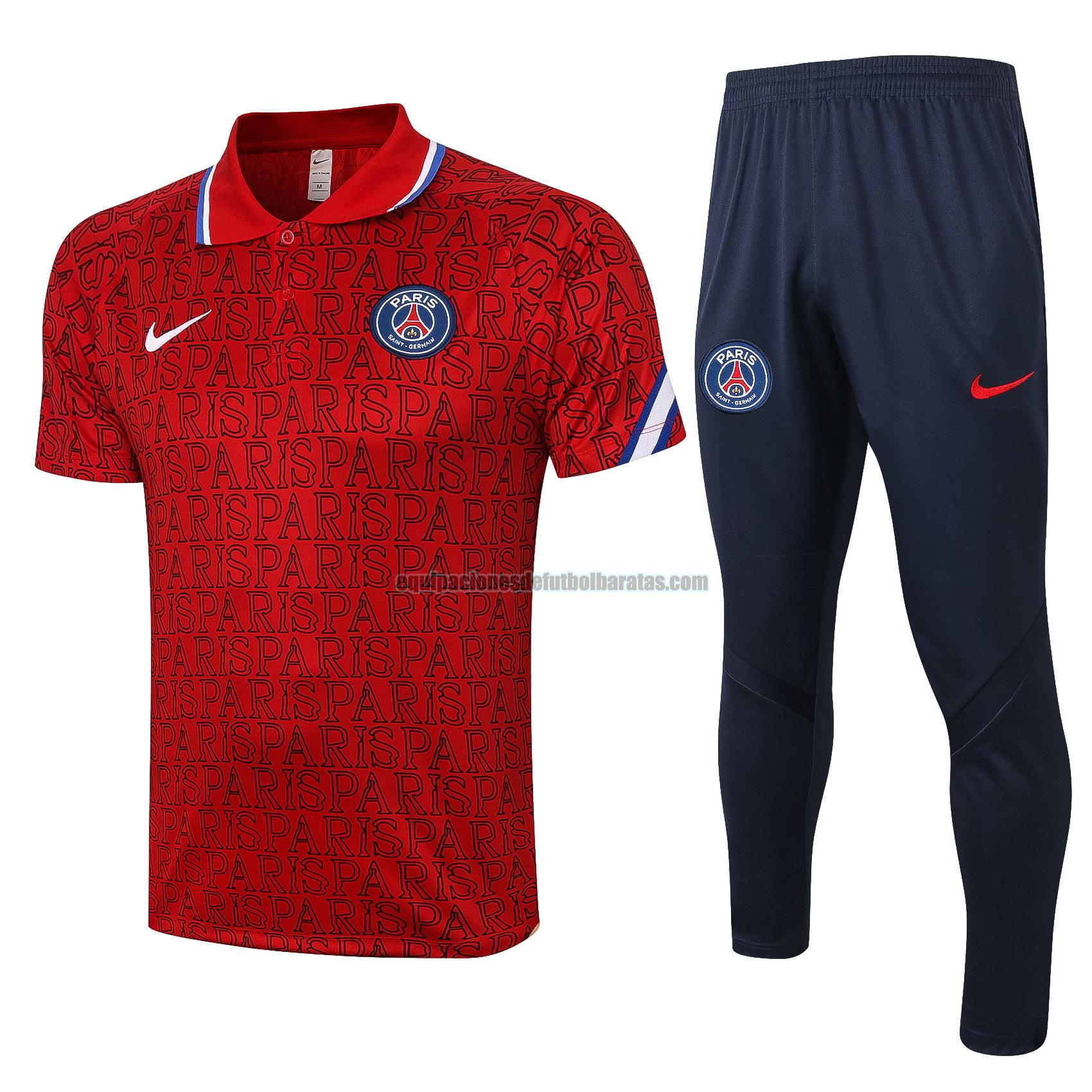 camiseta polo paris saint germain 2020-2021 rojo conjunto