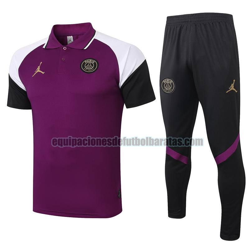 camiseta polo paris saint germain 2020-2021 violeta conjunto
